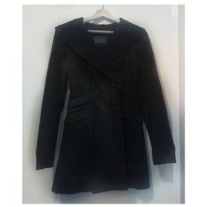 Mackage black hooded rain coat XS
